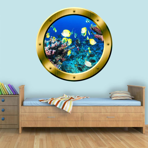 VWAQ Coral Reef Fish View Porthole Peel and Stick Vinyl Wall Decal - GP16 - VWAQ Vinyl Wall Art Quotes and Prints