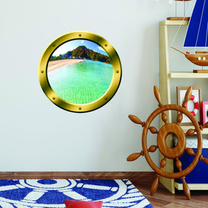 VWAQ Island Scenery Gold Porthole Peel and Stick Vinyl Wall Decal - GP17