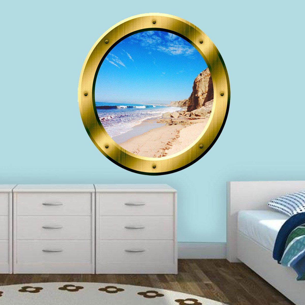 VWAQ Ocean Beach Gold Peel and Stick Porthole Window Wall Decal - VWAQ Vinyl Wall Art Quotes and Prints
