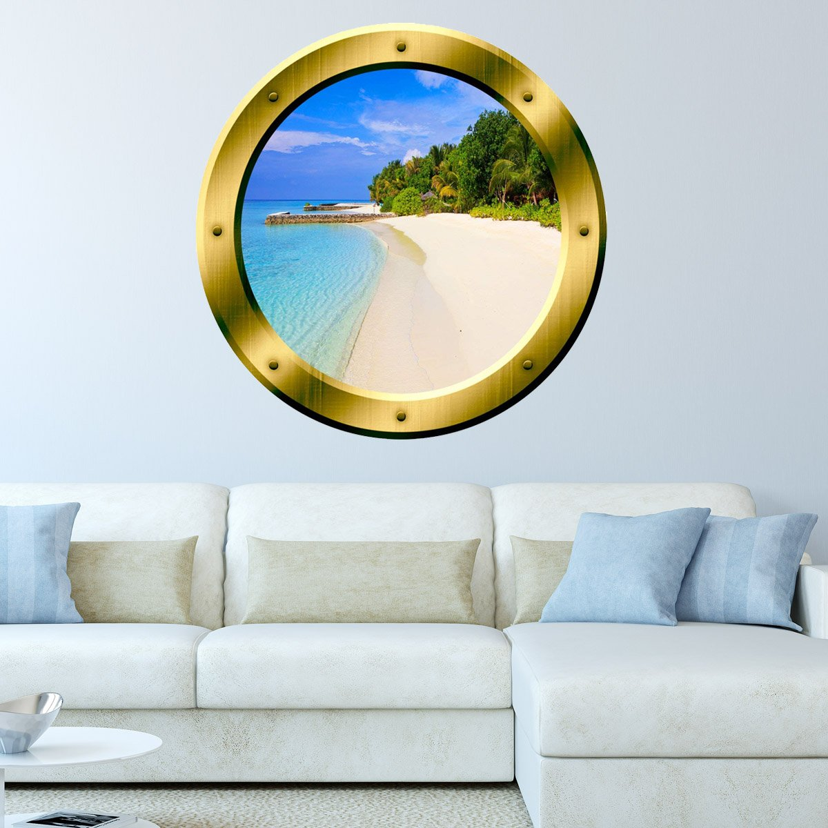 VWAQ Tropical Sandy Beach Gold Porthole Window Peel N Stick Vinyl Wall Decal - GP36 - VWAQ Vinyl Wall Art Quotes and Prints