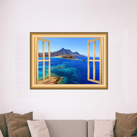 VWAQ Window Frame Wall Decal Mountain Ocean View Peel and Stick Mural