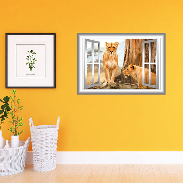 Lioness Wall Decal 3D Window Sticker Animal Wall Art Peel and Stick Mural VWAQ-NW20 - VWAQ Vinyl Wall Art Quotes and Prints