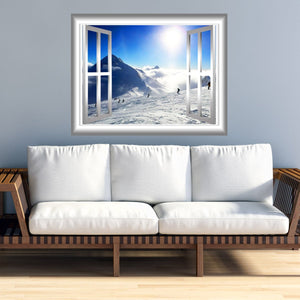 VWAQ Snowy Mountain Wall Decal 3D Window Sticker Peel and Stick Mural