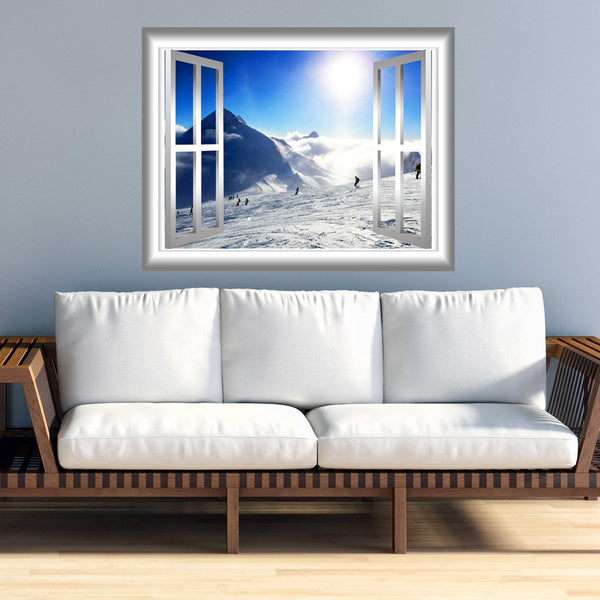 VWAQ Snowy Mountain Wall Decal 3D Window Sticker Peel and Stick Mural - NW25 - VWAQ Vinyl Wall Art Quotes and Prints
