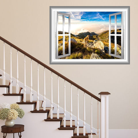 VWAQ Mountain Window Sticker Outdoors Wall Decals Peel and Stick Mural