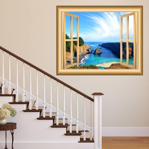 VWAQ Ocean Window 3D Wall Decal Seaside Decor Peel and Stick Mural