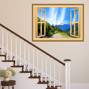 VWAQ Mountain Window Wall Decal Outdoors Wall Decor Peel and Stick Mural