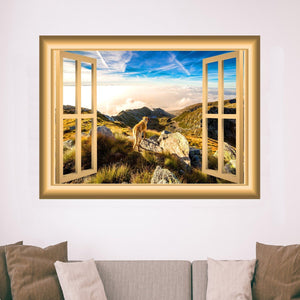 VWAQ Mountains Window Wall Decal Nature Wall Decor Peel and Stick Mural