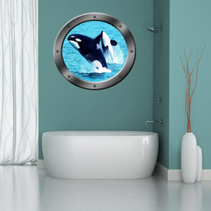 VWAQ Orca Whales Sea Porthole Peel and Stick Vinyl Wall Decal - PO13