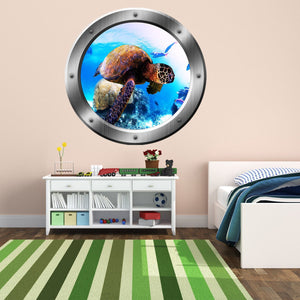 VWAQ Sea Turtle Portrait, Turtle Wall Decal, Porthole, Underwater Ocean Decals