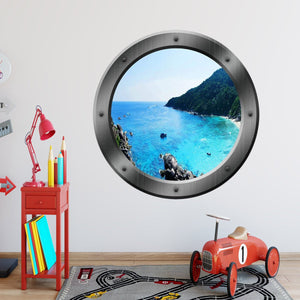 VWAQ Ocean Porthole Wall Decal Nature Sea View Window Sticker Peel and Stick Mural - PO7 - VWAQ Vinyl Wall Art Quotes and Prints