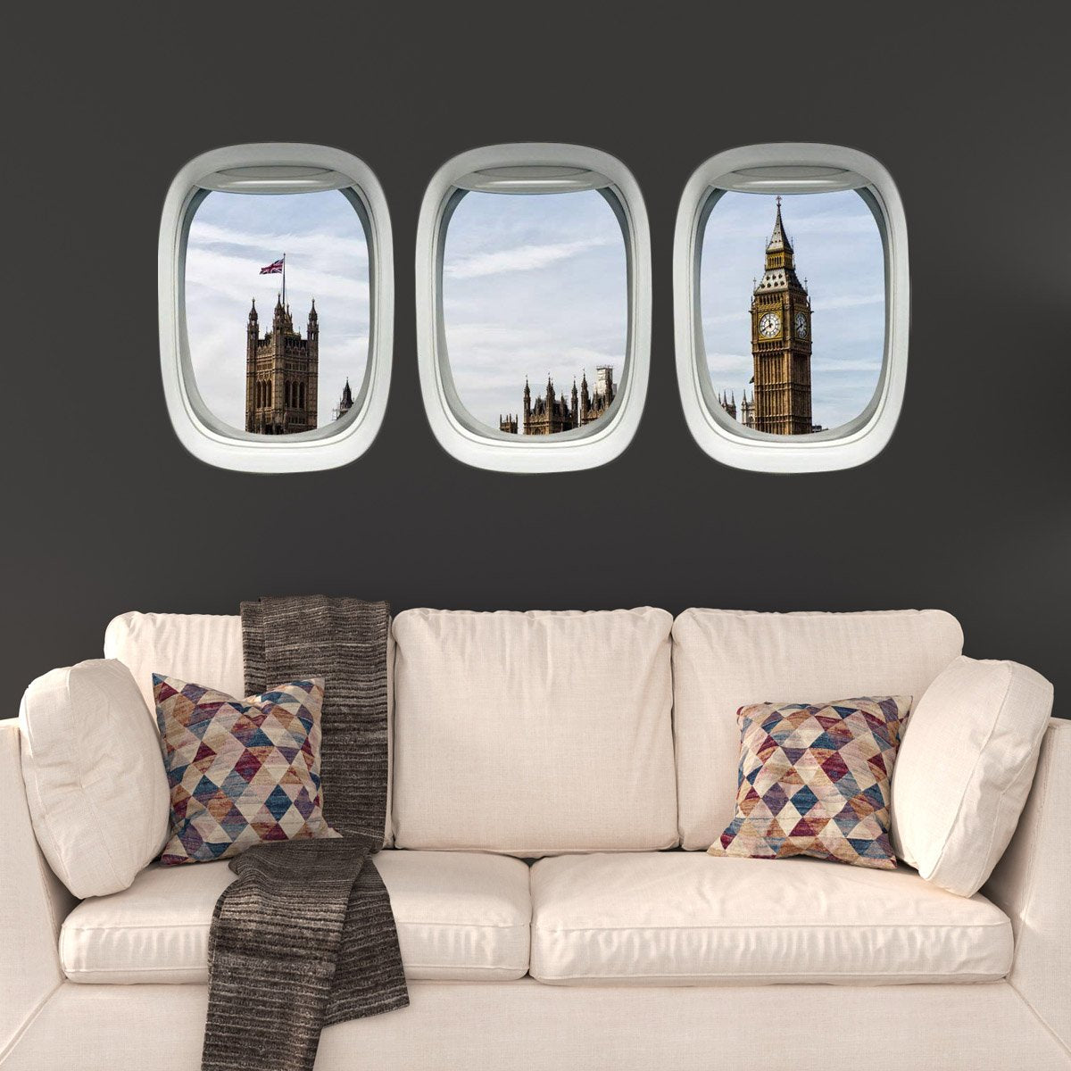 VWAQ Big Ben Wall Airplane Window Decals Kids Room Aviation Decor - PPW18 - VWAQ Vinyl Wall Art Quotes and Prints