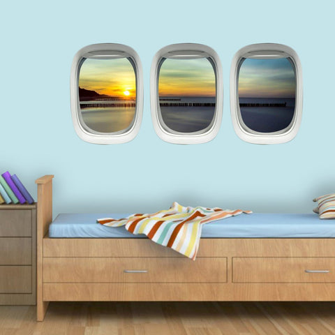 Airplane Window Wall Decals Sunset Beach Aviation Wall Art - PPW22 - VWAQ Vinyl Wall Art Quotes and Prints