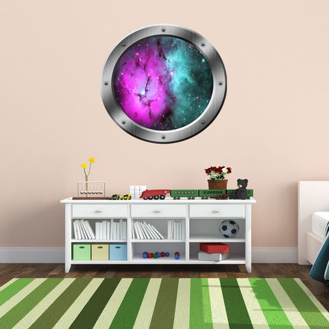 VWAQ Outer Space Wall Cling, Universe Space Window Porthole Decal - PS25 - VWAQ Vinyl Wall Art Quotes and Prints