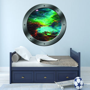 VWAQ Peel and Stick Galaxy Spaceship Porthole Window Vinyl Wall Decal - PS3
