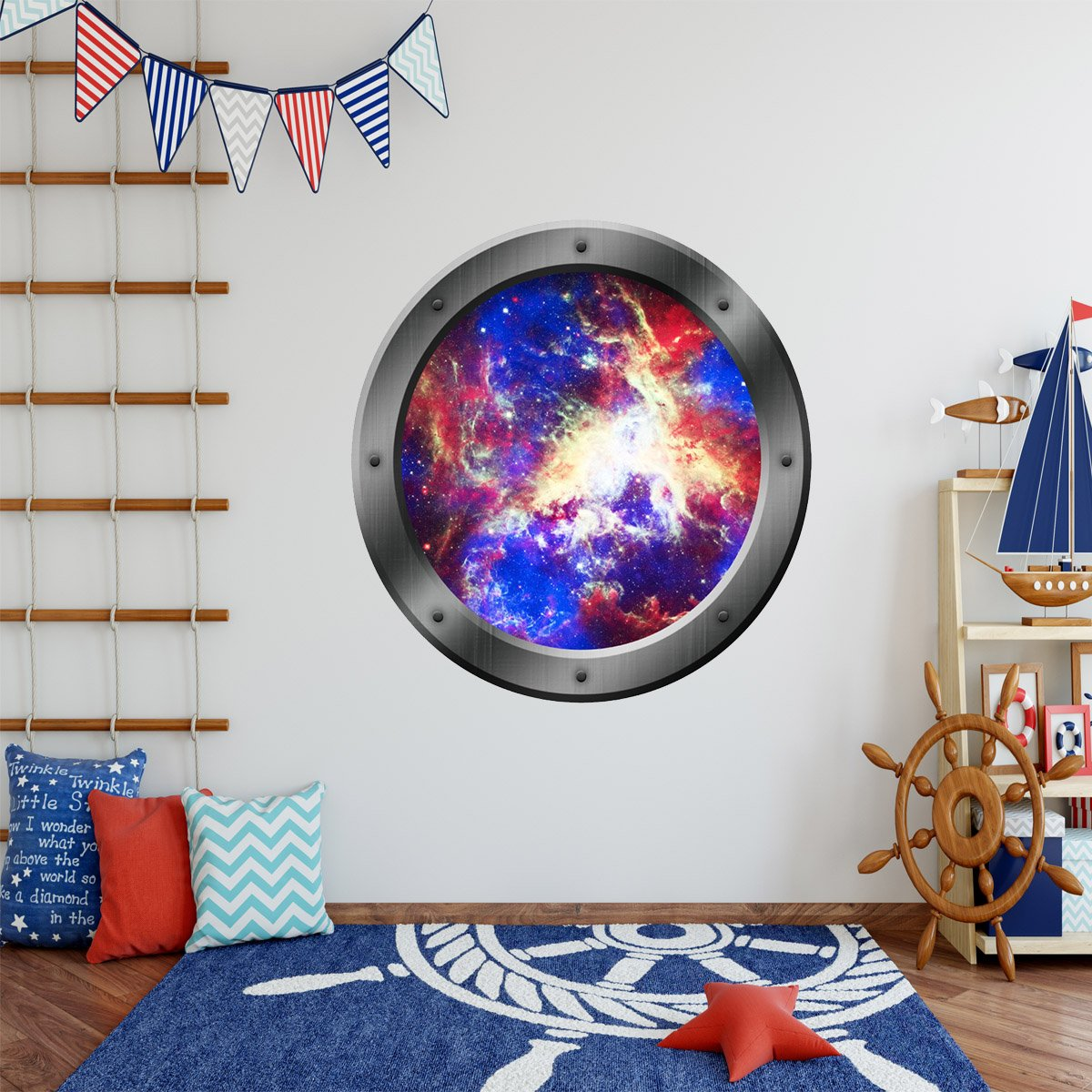 VWAQ Galaxy Spaceship View Porthole Window Peel and Stick Vinyl Decal - PS6 - VWAQ Vinyl Wall Art Quotes and Prints