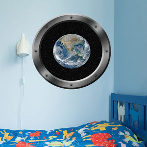 VWAQ Spaceship Porthole Window Earth View Peel and Stick Vinyl Wall Decal