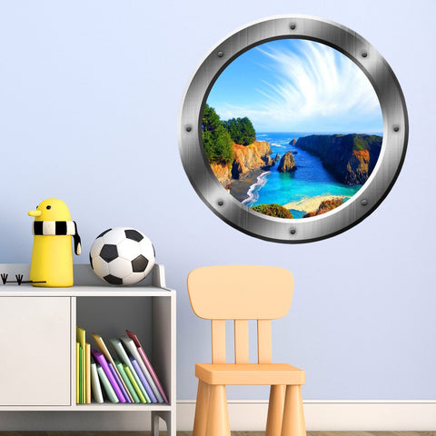 VWAQ Tropical Cove Rocky Scene Silver Window Porthole Peel N Stick Vinyl Wall Decal - SP12 - VWAQ Vinyl Wall Art Quotes and Prints