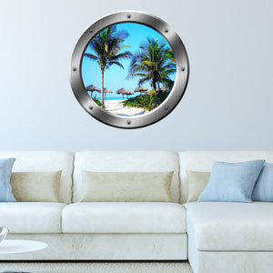 VWAQ Tropical Beach Palapa Scene Silver Window Porthole Peel and Stick Wall Decal - SP14 - VWAQ Vinyl Wall Art Quotes and Prints