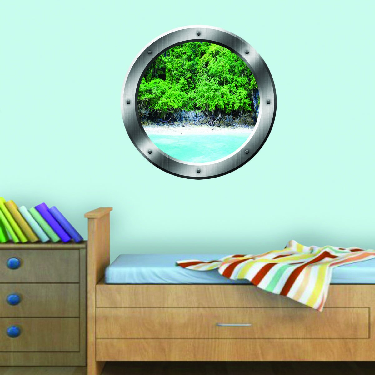 VWAQ Ocean Shoreline Silver Porthole Window View Peel and Stick Vinyl Wall Decal - SP15