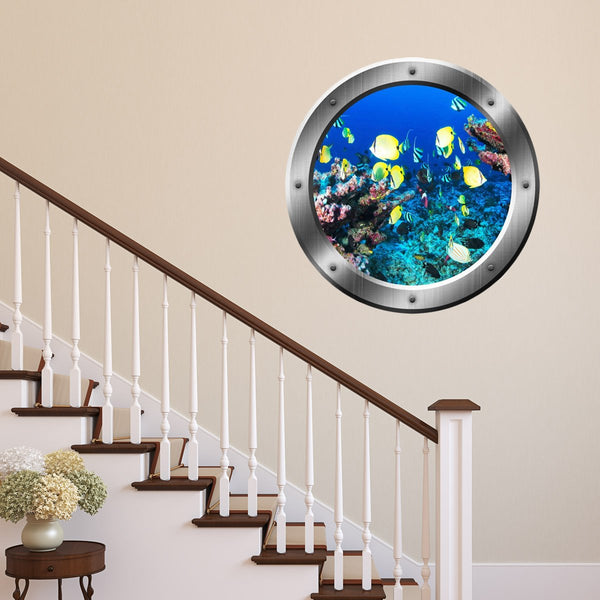 VWAQ Underwater Submarine Fish Silver Porthole Scene Peel And Stick Vinyl Wall Decal - SP16