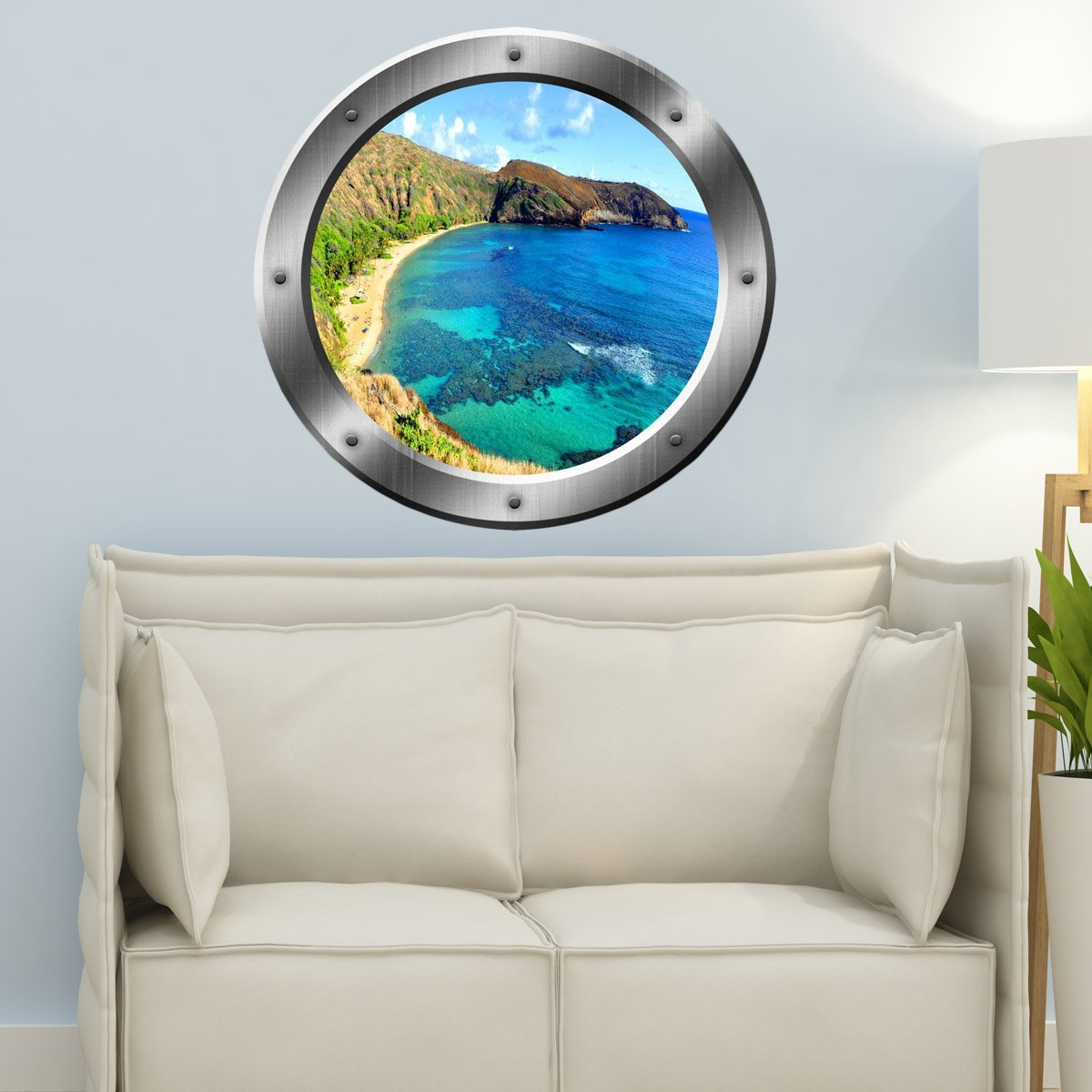 VWAQ Ocean Cliff View Silver Window Porthole Peel and Stick Vinyl Wall Decal - SP18 - VWAQ Vinyl Wall Art Quotes and Prints