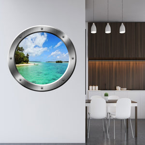 VWAQ Ocean Beach Scene Peel and Stick Silver Porthole Vinyl Wall Decal - SP22 - VWAQ Vinyl Wall Art Quotes and Prints