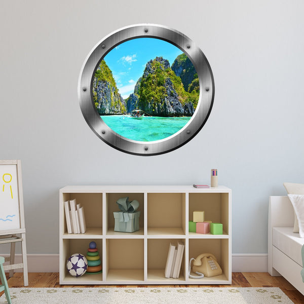 VWAQ Ocean Mountain View Silver Porthole Peel and Stick Vinyl Wall Decal - SP23