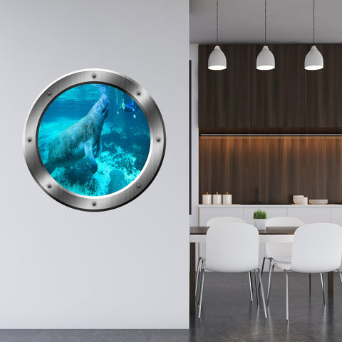 VWAQ Underwater Manatee Silver Porthole Peel and Stick Vinyl Wall Decal