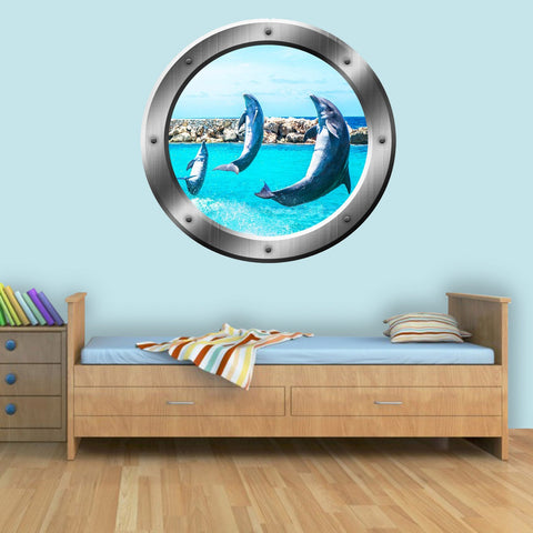 VWAQ Peel and Stick Breaching Dolphins Silver Porthole Vinyl Wall Decal