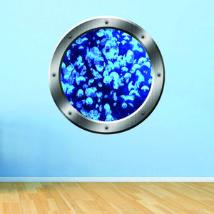 VWAQ Underwater Jellyfish Silver Porthole Peel and Stick Vinyl Wall Decal