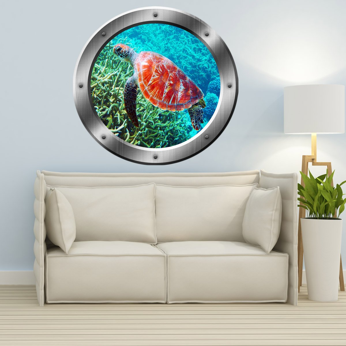 VWAQ Sea Turtle Coral Reef Porthole Peel And Stick Vinyl