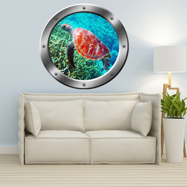 VWAQ Sea Turtle Coral Reef Porthole Peel and Stick Vinyl Wall Decal - SP31 - VWAQ Vinyl Wall Art Quotes and Prints