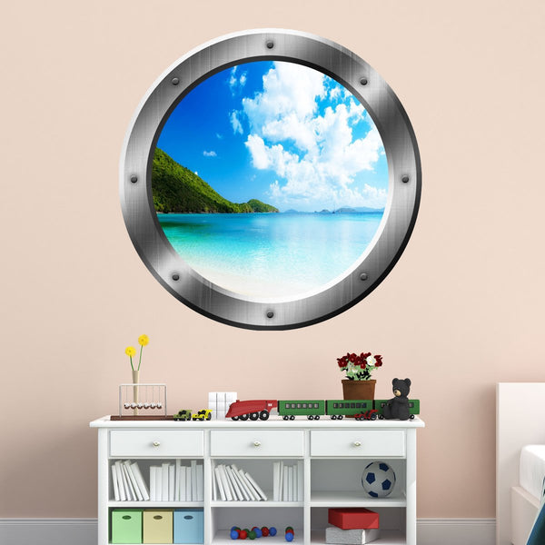 VWAQ Clear Blue Beach Silver Porthole Window Peel and Stick Wall Decal - SP34 - VWAQ Vinyl Wall Art Quotes and Prints