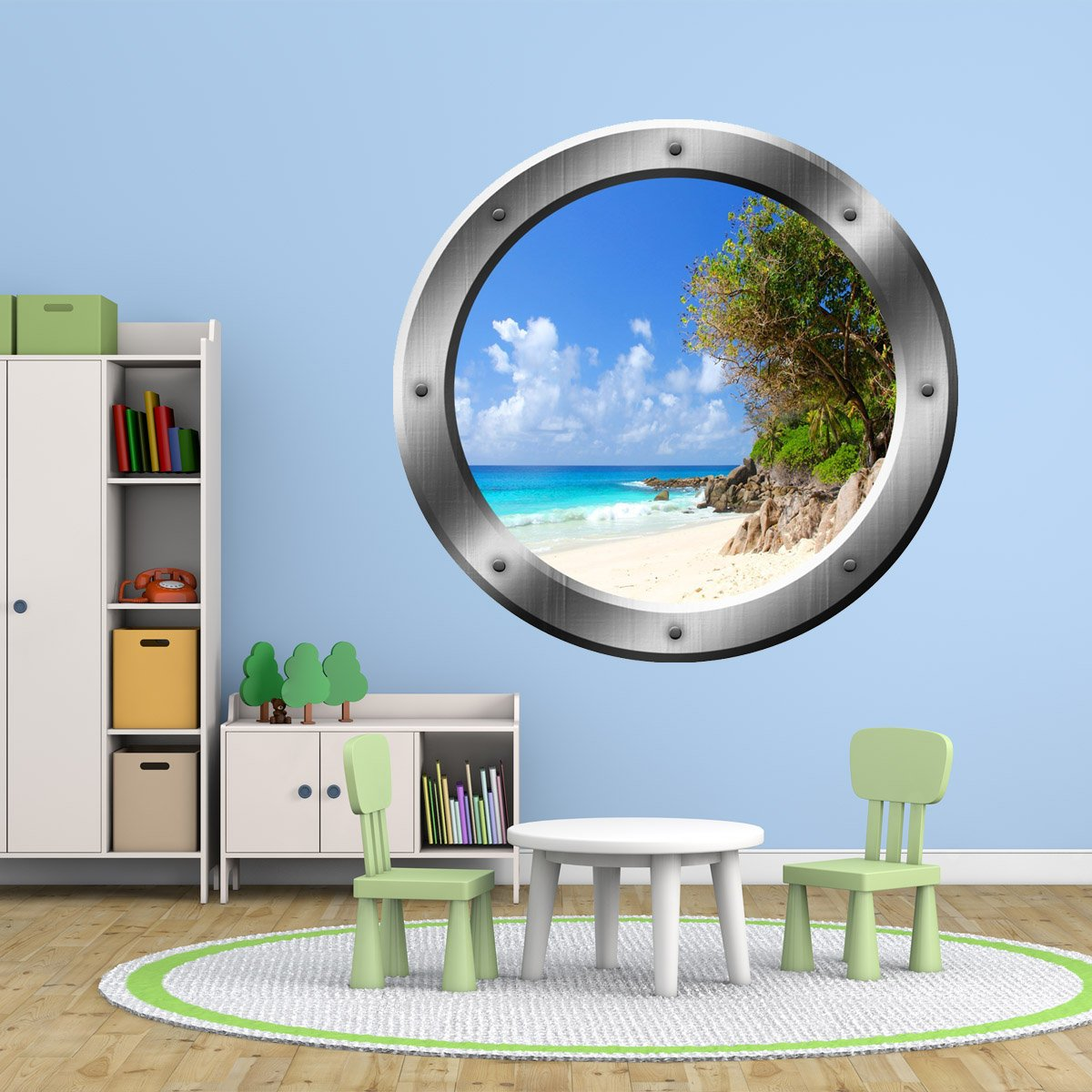 VWAQ Relaxing Peel and Stick Beach Porthole Window Vinyl Wall Decal - SP35