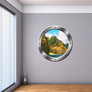 VWAQ Ocean Mountain View Silver Porthole Peel and Stick Vinyl Wall Decal - SP39