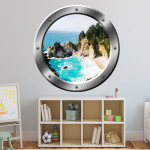 VWAQ Ocean Cliff Aerial View Window Silver Porthole Peel and Stick Wall Decal - SP41 - VWAQ Vinyl Wall Art Quotes and Prints