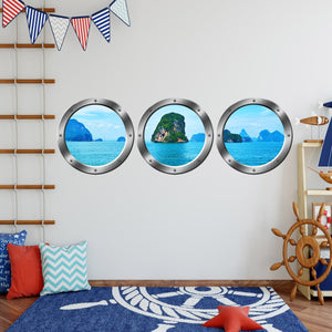 VWAQ Ocean View Window Portholes Three Porthole Windows Side By Side View - SPW11 no background