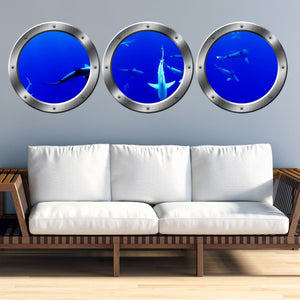 VWAQ School of Sharks Submarine Window Portholes Underwater Scene Wall Decals - SPW13 - VWAQ Vinyl Wall Art Quotes and Prints