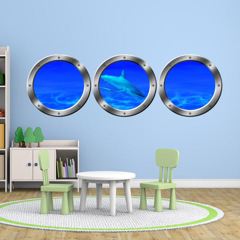 VWAQ Submarine Porthole Windows Shark Ocean Floor Underwater Scene Wall Decals - SPW16 - VWAQ Vinyl Wall Art Quotes and Prints