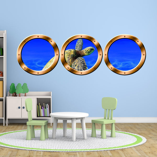VWAQ Submarine Porthole Decal, Sea Turtle Wall Decor - Ocean Animals Stickers - SPW19 - VWAQ Vinyl Wall Art Quotes and Prints