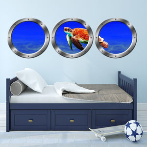 VWAQ Ocean Porthole - Sea Turtle Animals Wall Stickers, Submarine Window Decal - SPW20 - VWAQ Vinyl Wall Art Quotes and Prints