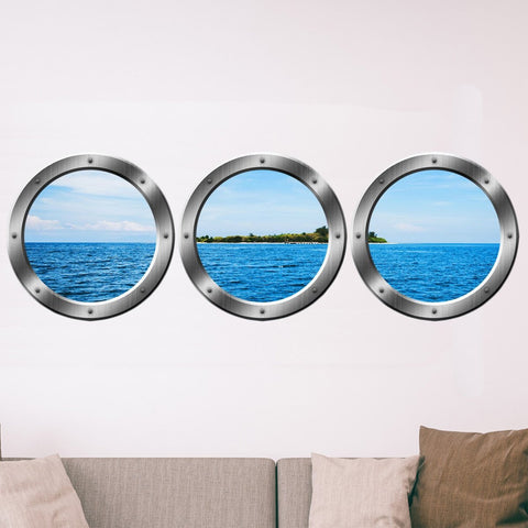 VWAQ Ship Window Portholes Tropical Island Scene Peel & Stick Wall Decals - SPW4 no background