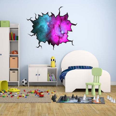 VWAQ Outer Space Wall Crack Galaxy Nebula Peel & Stick Removable Wall Decal - WC10 - VWAQ Vinyl Wall Art Quotes and Prints