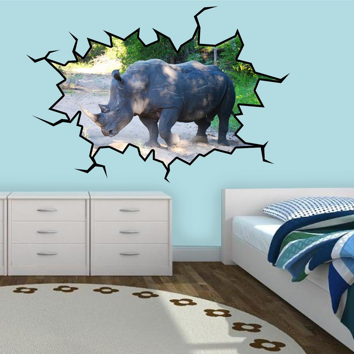 VWAQ Rhino Wall Decal Rhino Wall Art Hole In The Wall Safari Animal Decor