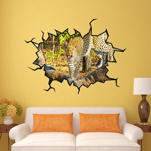 VWAQ Leopard Wall Crack Safari Scene Peel and Stick Vinyl Wall art Decal (WC15)