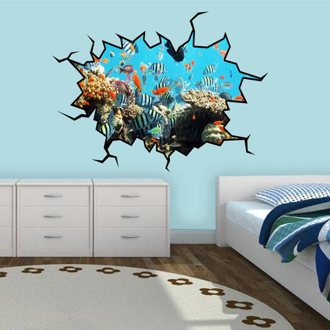 VWAQ School Of Fish Crack in the Wall Peel & Stick Removable Decal Coral Reef - WC16 - VWAQ Vinyl Wall Art Quotes and Prints