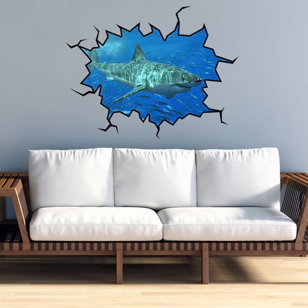 VWAQ Peel and Stick Shark Wall Crack Vinyl Wall Decal (WC17)
