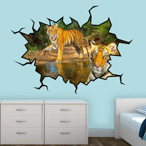 VWAQ Safari Hole in the Wall View of Tigers Removable Jungle Wall Decal
