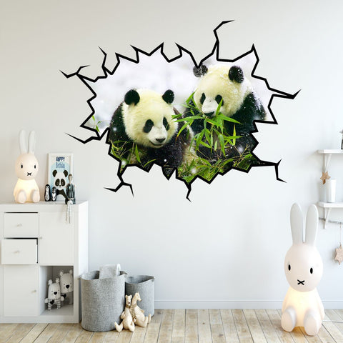 VWAQ Pandas Wall Decals Panda Bear Wall Sticker Hole In The Wall Mural Art - WC25